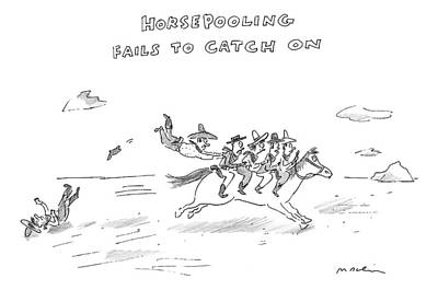 Catch Drawing - Four Cowboys Ride A Running Horse by Michael Maslin