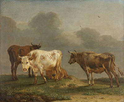 Four Cows In A Meadow Art Print