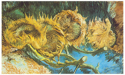 Sunflower Painting - Four Cut Sunflowers by Vincent Van Gogh