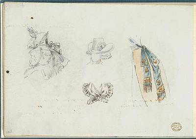 Four Designs Of Costume Accessories Art Print by Anonymous, French, 18th century