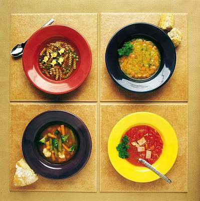 Four Dishes Of Different Food Print by Ron Nickel