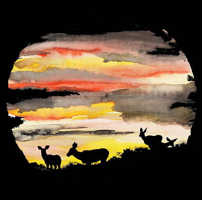 Painting - Four Does At Sunset by Dale Jackson
