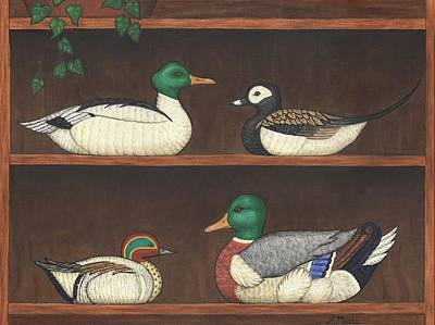 Sports Painting - Four Duck Decoys by Linda Mears