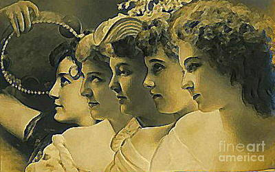 Four Edwardian Actresses In 1910 Art Print by Dwight Goss