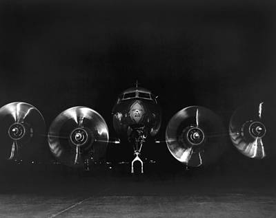 Spinning Photograph - Four Engine Airplane by Underwood Archives