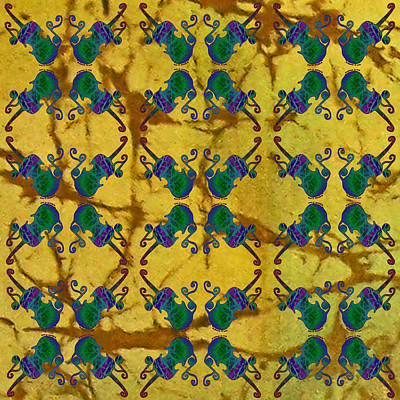 Fiddle Painting - Four Fancy Fiddles Tiled On Gold Batik by Sue Duda