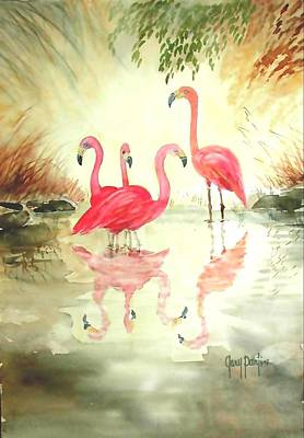 Painting - Four Flamingos by Gary Partin