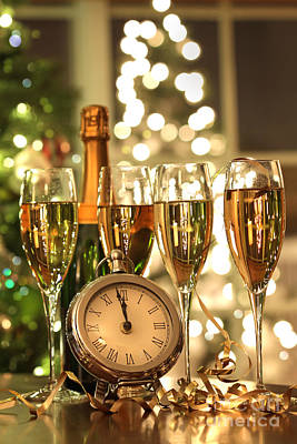 Photograph - Four Glasses Of Champagne Ready For The New Year by Sandra Cunningham