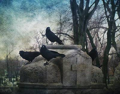 Four Graveyard Crows Art Print by Gothicrow Images