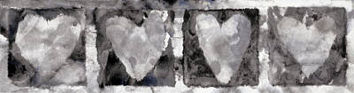 Note Card Photograph - Four Hearts by Carol Leigh