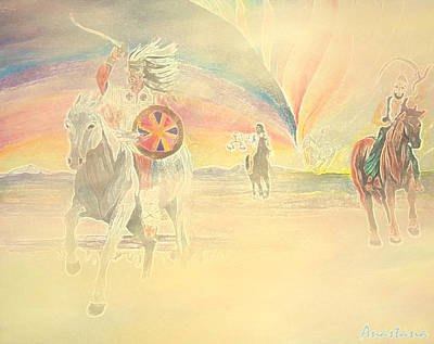 Revelation Drawing - Four Horsemen Approaching Through Time by Anastasia Savage Ealy