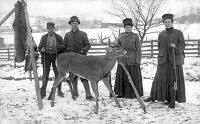 Two Deer Photograph - Four Hunters And Their Game. by Underwood Archives