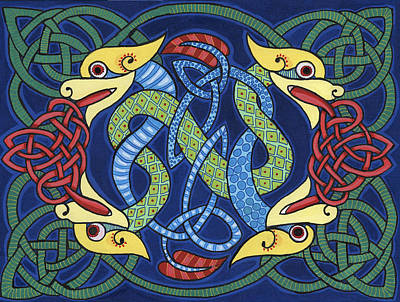 Four Intertwined Celtic Serpents Original by Jay Winter Collins