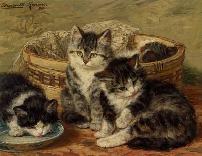 Four Kittens Art Print by Henriette Ronner Knip