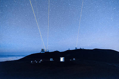 Photograph - Four Lasers Above Mauna Kea 1 by Jason Chu