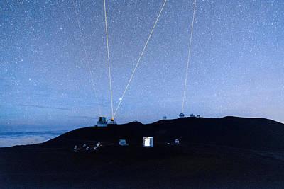 Photograph - Four Lasers Above Mauna Kea 2 by Jason Chu