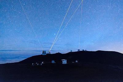 Photograph - Four Lasers Above Mauna Kea 4 by Jason Chu