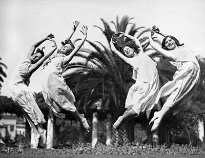 Four Leaping Grecian Dancers Art Print by Underwood Archives