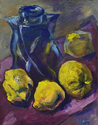 Four Lemons And A Blue Vase Art Print