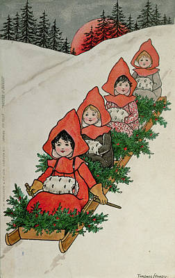 Sleigh Ride Painting - Four Little Girls On A Sledge  by Florence Hardy
