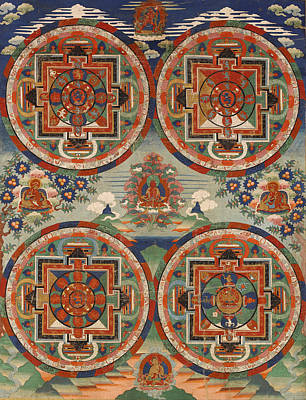Printing Drawing - Four Mandalas by Unknown