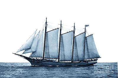 Photograph - Four Mast  Schooners Honolulu Ship Built In 1896 Circa 1900 by California Views Archives Mr Pat Hathaway Archives