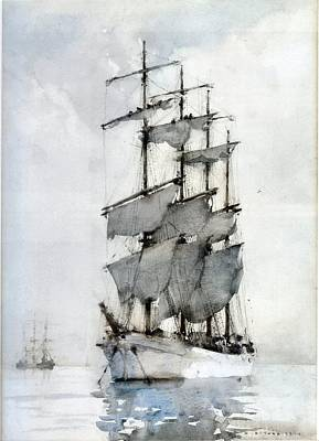 Painting - Four Masted Barque by Henry Scott Tuke