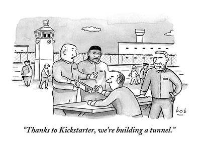 Four Men Converse Outdoors In A Prisoner Art Print