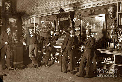 Photograph - Four Men In A Saloon Circa 1895 by California Views Mr Pat Hathaway Archives