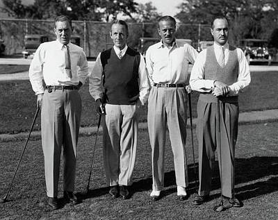 Button-down Shirt Photograph - Four Men On A Golf Course by Artist Unknown