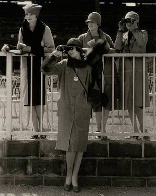 Four Models At The Belmont Race Track Print by Edward Steichen