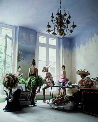 Headgear Photograph - Four Models Inside Christian Lacroix's Studio by Arthur Elgort
