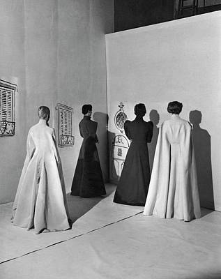 Billiard Photograph - Four Models Wearing Charles James Coats by Cecil Beaton