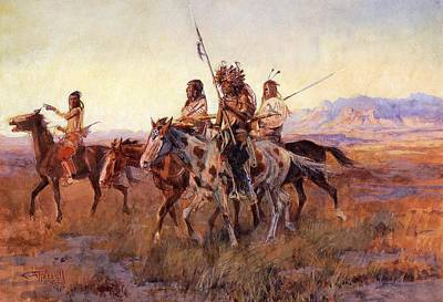Cowboy Art Digital Art - Four Mounted Indians by Charles Russell