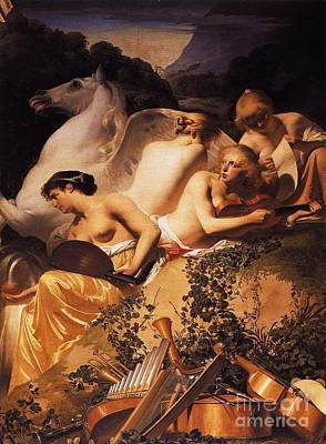 Pegasus Painting - Four Muses And Pegasus On Parnassus by Pg Reproductions