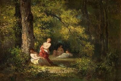 Nymphe Painting - Four Nymphs In A Wood by Narcisse Virgile Diaz de la Pena