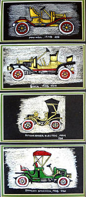 Buick Drawing - Four Old Cars A by Joseph Hawkins