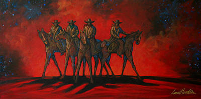 Contemporary Cowboy Painting - Four On The Hill by Lance Headlee