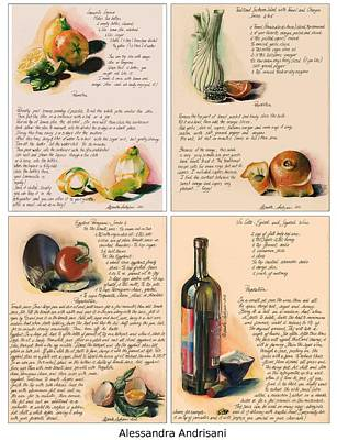 Italian Kitchen Painting - Four Painted Recipes by Alessandra Andrisani