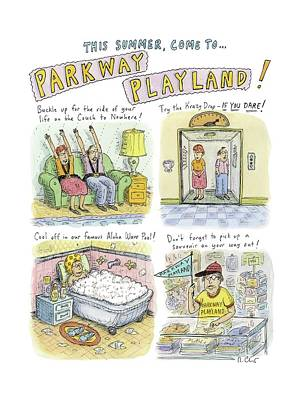 Amusement Park Drawing - Four Panels Advertise Parkway Playland by Roz Chast