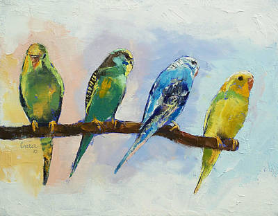 Parakeet Painting - Four Parakeets by Michael Creese