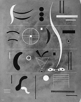 Masonite Drawing - Four Parts by Vasily Kandinsky