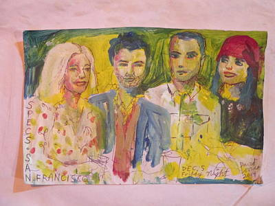 Ball Point Pen Painting - Four People - Bar Drawing With Acrylic by David Lovins