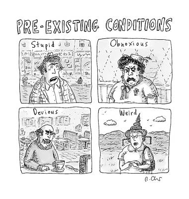 Four People Under The Headings Pre-existing Art Print by Roz Chast