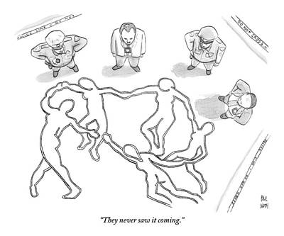 September 19th Drawing - Four Police Officers Stand Outside Of A Chalk by Paul Noth
