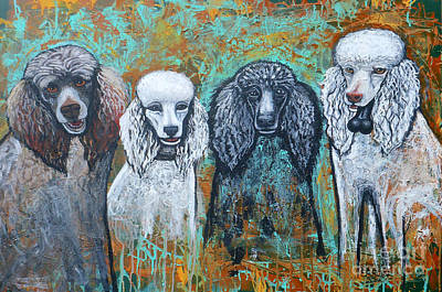 Four Poodles Art Print by Genevieve Esson