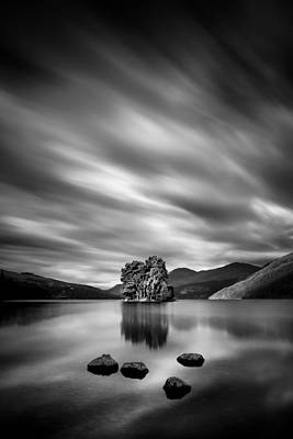 Trees And Lake Photograph - Four Rocks by Dave Bowman