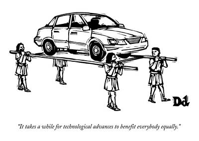 April 27th Drawing - Four Roman Servants Carry A Car On A Canopy Like by Drew Dernavich