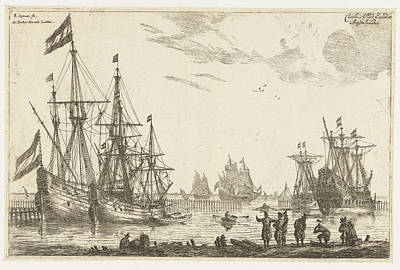 Fence Drawing - Four Sailing Behind A Breakwater, Reinier Nooms by Reinier Nooms