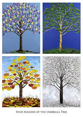 Set Of Four Painting - Four Season Tree by David s Newsome